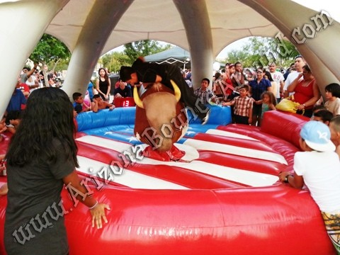 Dome tent with mechanical bull