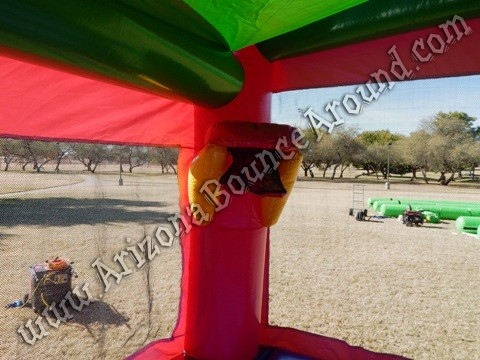 Minnie Mouse Bounce House with basketball hoop inside