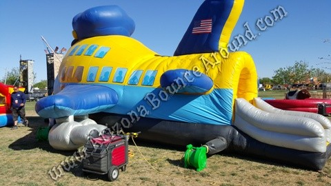 Rent a jumbo jet bounce house for airplane parties in Colorado