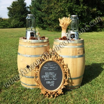 Wine barrel table rentals in Denver